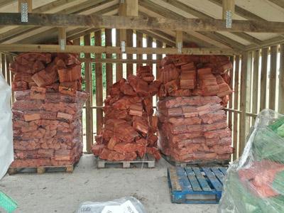 Inside log shed